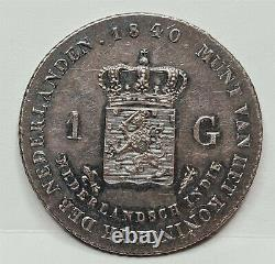 NETHERLANDS EAST INDIES Dutch Indonesia 1 gulden 1840 About UNC Silver #C90