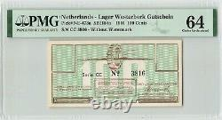 Netherlands 100 Gulden Cent 1944 CC witho Watermark Westerbork PMG Choice UNC 64