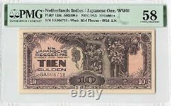 Netherlands Indies 10 Gulden 1942 Indonesia Pick 125a PMG Choice About UNC 58