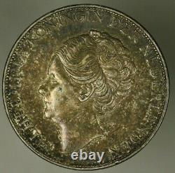 Netherlands Silver 2 1/2 Gulden 1932 deep hairlines Toned AU/UNC A2503