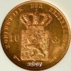 Pays-bas Or 10 Gulden 1876 Ngc Ms 65 Unc